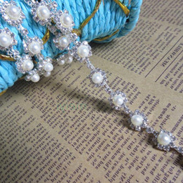 $enCountryForm.capitalKeyWord NZ - 1 Yard Bling Diamante Diamond Pearls Trim Lace Ribbon Tape Beaded Rhinestone 0.5cm Width Chain Crystal Gem Sparkle Wedding Dress Sash Belt