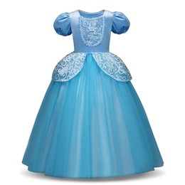 Vente en gros Mignon Cosplay Robe De Princesse À Manches Longues Fille Costume Cendrillon Rapunzel Party Dress Filles Vêtements Vestidos Infantis