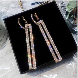 $enCountryForm.capitalKeyWord Australia - Fashion Long Geometric Drop Earrings Luxury Gold Silver Color Rectangle Rhinestone Earring for Women Party Jewelry Gift