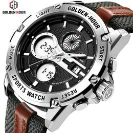 Men Sports Hand Watch Australia - GOLDENHOUR Men Fashion Army Watch Mens Dual Display Waterproof Quartz Wristwatches Luminous Hands Sport Clock Relogio