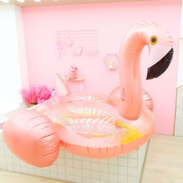 Discount water floating beds - 2019 New Giant Inflatable sequins rose gold flamingo floating row water mount adult floating bed Boia Piscina Party Toys