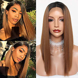 Two Tone Black Burgundy Hair Australia - Ombre Two Tone Burgundy Gray Green Bob Synthetic Wig Hair Lace Front Hair Wigs Short Wigs Full Lace Frontal Bob Wigs for Women