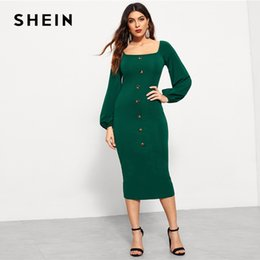 wholesale Green Single Breasted Square Neck Natural Waist Bishop Sleeve  Bodycon Dress Autumn Women Long Sleeve Solid Arabian Dresses aeb06ecf2df1