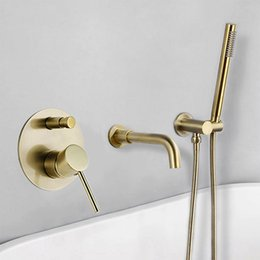 $enCountryForm.capitalKeyWord Australia - Brushed Gold Bathtub Faucet Mixer Hot And Cold Water Shower Set Wall Mounted Bathroom Shower Faucet Bath Spout Shower Tap