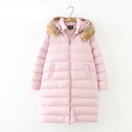 Wholesale parka korean style resale online - Korean Style Winter Parkas Faux Fur Collar Hooded Casual Loose Warm Thick Plus Size Long Parka Coat Outerwear