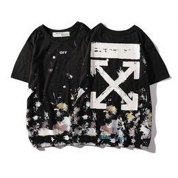 Hollow Pipe UK - Tide Card Summer Men And Women Lovers Pretend Leisure Time Splash Ink Arrow T-shirts Short Sleeve T Shirt