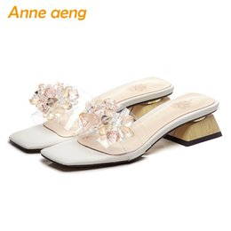 white mule slippers NZ - 2019 New Summer  Outside Women Slippers Middle Square Heel Crystal Sexy Ladies Women Shoes White Mules Slides