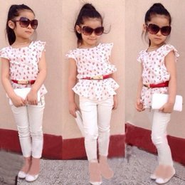 $enCountryForm.capitalKeyWord NZ - Hot fashion style Children's wear suits print tee and pant leisure clothing baby girls kid's spring cotton top wholesale priceS19JS012