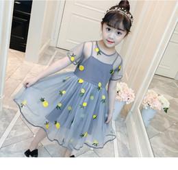 Cartoon Tutus Australia - New summer dress Korean children's summer Baby girl foreign Cartoon Print Flower dress skirt princess tutu