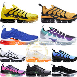 74e3916ee1e35 2019 TN Plus Mens Women Running Shoes Rainbow Grape Sunset Shark Blue  Reserve Sunset Light Menta Black Yellow Trainers Sports Sneakers 36-45