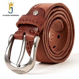 China FAJARINA Brand Name Quality Striped Genuine Leather Belts Men's Fashion Man Pin Buckle Belts for Men Cow Skin Belt N17FJ300 supplier name brand belts man suppliers