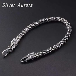 925 sterling silver chains dragon online shopping - Genuine Sterling Silver Couple Dragon Bracelet necklace Men Vintage Punk Rock Bracelets Biker Gothic Jewelry Pulsera Hombre