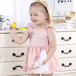 Plaid Bow Dress NZ - Little kids plaid dress INS baby girls floral printed falbala fly sleeve dress 2019 summer kids lace-up Bows backless princess dress F3001