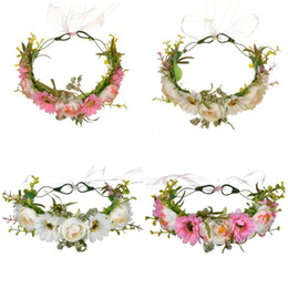 China Flower Crown Rose Wreaths Five Colors Manual Cane Aestheticism Hair Hoop Women Artificial Flowers Spring And Autumn Travel 17mxE1 cheap spring wreaths suppliers