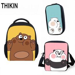 mini ice creams 2019 - THIKIN cute Small Children School Bag 3pcs set Grizzly Panda Ice Bear Best Gift Kindergarten Book Bag Mini Mochila