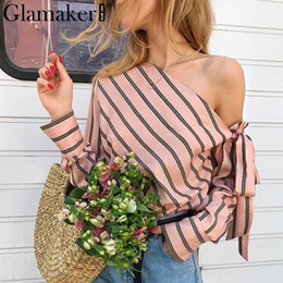 Elegant Kimonos Australia - Glamaker Striped Chiffon One Shoulder Women Blouse Shirt Summer Elegant Casual Female Blouses Sexy Streetwear Blusas Shirts Tops Q190523