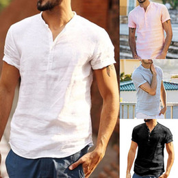 Black White Casual Button Short Sleeve NZ - Men's Summer Linen Shirt Short Sleeve Button Down Closure Breathable Stand Collar T-shirt for Men Solid Color Casual Henry Shirt White Black