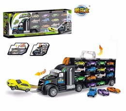 $enCountryForm.capitalKeyWord NZ - Really High Quality Truck Hauler With 12 Small Cars Plane Baby Cartoon Models Kids Toys For Children Boy Christmas Gifts J190525