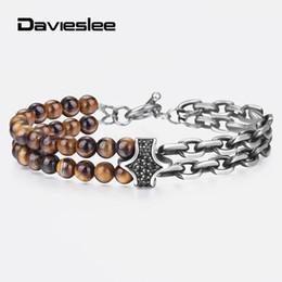 $enCountryForm.capitalKeyWord Australia - NaturalStoneBeadedBraceletforMenDoubleChainStainlessSteelRoloLinkCZCharmTiger eye Male Jewelry New Arrival DDB199