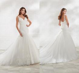 $enCountryForm.capitalKeyWord Australia - 2020 New Arrival Mermaid Wedding Dress V neck with Spaghetti Straps Open Back Sequins Lace Applique Designer Wedding Bridal Gowns New