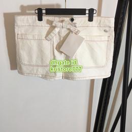 $enCountryForm.capitalKeyWord NZ - Women Cotton Denim Plaid Shorts White Elastic Waistband With Drawstring The High-End Quality Flat Shorts 2019