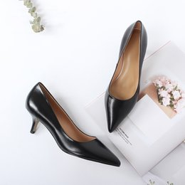Wholesale Best Seller Work Shoes Women Real Cow Leather Pointed Toe cm High Thin Heels Elegant Pumps Basic Slip on Pumps