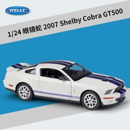 welly toys 2020 - WELLY Diecast Alloy 2007 Shelby Cobra GT500 Car Model Toy, Sports Car, 1:24 Scale Ornament, Christmas Kid Birthday Boy G