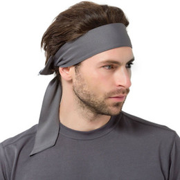 Wholesale sweat wear online – oversize Tie Back Headbands Sport Yoga Gym Hair bands Outdoor Running Headbands Unisex Head Wear Absorb sweat Hair bands LJJZ397