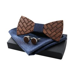 handkerchief Australia - Maxi High Quality handmade men's wooden checkered bow tie cufflinks handkerchief set with box, special gifts for boyfriend, wedding gift
