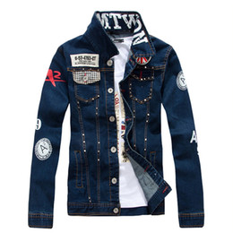 $enCountryForm.capitalKeyWord Australia - KIMSERE Men Punk Style Jean Jackets With Rivets Fashion Hip Hop Denim Jacket Outwear For Male Letter Printed Washed Blue