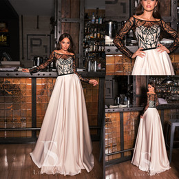 chic formal evening gown UK - 2020 Chic Evening Dresses Scoop Neck Lace Appliqued Beaded Long Sleeves Prom Gown Sheer Back Sweep Train Custom Made Formal Party Gown