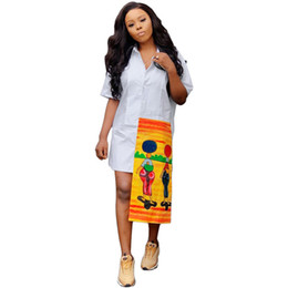 $enCountryForm.capitalKeyWord Australia - Designer Print Panelled Shirt Dresses Summer Stand Collar Short Sleeve Button Dresses Ladies Skinny Causal Dresses