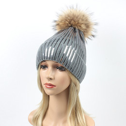 $enCountryForm.capitalKeyWord Australia - Sequins Embroidery Winter Hats Women Raccoon Fur Pom Pom Hat Female Girl Wool Knitted Beanies paillette Gravity Cap LJJA2816