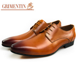 grimentin shoes UK - GRIMENTIN 2020 Newest hot sale genuine leather mens shoes brand orange formal men dress shoes for Italian fashion wedding mens shoes