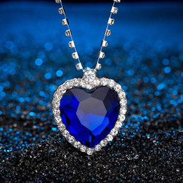 $enCountryForm.capitalKeyWord NZ - Romantic The Heart of ocean necklace For women Blue Red crystal Heart Shape with Lovers Gemstone Pendant necklaces Titanic Jewelry