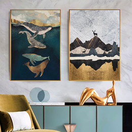 $enCountryForm.capitalKeyWord Australia - Whale And Elk Wall Art Print Canvas Painting Poster Posters And Prtins Abstract Nodic Poster Vintage Wall Pictures For Bedroom