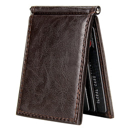 leather men money wallet Australia - Vintage Slim Money Clip Bifold Short Wallets for Men Multi Card Slots Pu Leather Luxury Business Cards Wallet Male Metal Clips