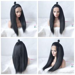 $enCountryForm.capitalKeyWord Australia - Cheap Synthetic Wigs 1b# 2# 6# Kinky Straight Long Yaki Wigs for Black Women Heat Resistant Glueless Full Lace Wigs with Baby Hair