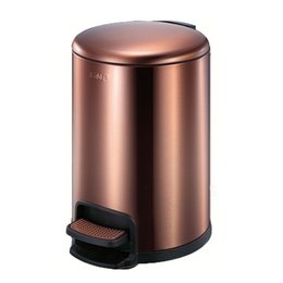 Steel Induction Australia - Rose gold round stainless steel pedal bin itouchless softstep trash can, 3 liter foot bathroom trash can