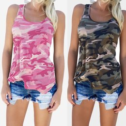 womens running tank top Australia - Womens Camouflage Casual T Shirt Yoga Shirts Camo Sleeveless Tanks Top Running Vest Short T-Shirts Printed O-Neck Tops Plus Size