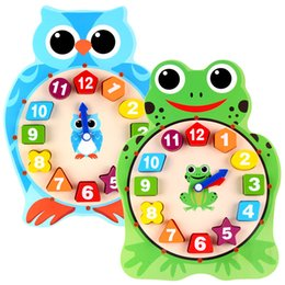 Wooden animals shapes online shopping - Children Early Educational Toys Wooden Frog Owl Design Clock Animals D Puzzles Cartoon Building Blocks Shape Pairing yza O1