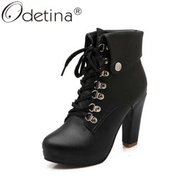 short white high heels NZ - Odetina Women Winter Round Toe Platform Turned-over Edge Ankle Boots Lady Block Extreme High Heel Metal Decoration Short Boots