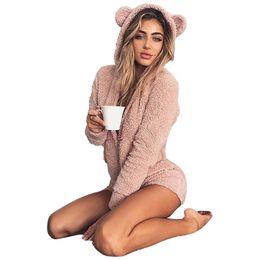 $enCountryForm.capitalKeyWord NZ - Velvet Cute Plus Size Jumpsuit Winter Women Warm Pink Hooded Rabbit Ear Fleece Onesie Homewear Pajamas For Adults