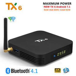 Коробка TV Андроида TX6 7.1 4 ГБ DDR3 32 ГБ eMMC на оборудовани Н6 2.4 Г 5 г Беспроводной Bluetooth 4.1 поддержка 4K и H. 265 HD умный телеприставки