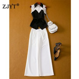 Discount women wide leg pant suits - Fashion Designer Runway Suit 2Piece Set Women Elegant Lady Office Outfits White Black Color Block Vest and Wide Leg Pant