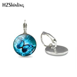 $enCountryForm.capitalKeyWord Australia - Magic Charming Blue Neon Butterfly Glass Cabochon Clip Earrings Jewelry Beauty Butterflies Picture Printed Dome Earrings