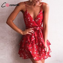 Red Dress V Neck Straps Australia - Conmoto Sexy Red Print Short Women Summer Strap V Neck Backless Holiday Floral Bow Chiffon Dress Vestidos Q190511