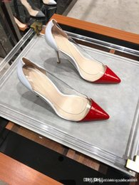 Woman High Comfortable Shoes Australia - Summer new high-end transparent high heels Fine with pointed color Leather comfortable women Sexy high heels shoes