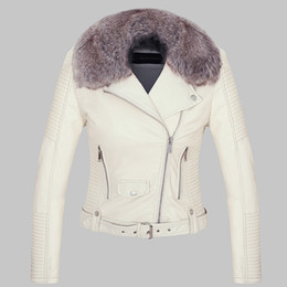 $enCountryForm.capitalKeyWord Australia - 2018 Hot Women Winter Warm Faux Leather Jackets with Fur Collar Lady White Black Pink Motorcycle & Biker Outerwear Coats