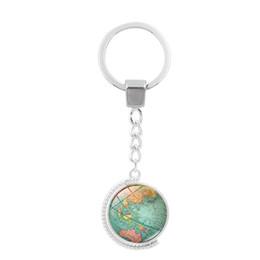 Globe Glasses Australia - Vintage Globe Map Keychain Art Glass Round Dome Pendant Key Chain Fashion Jewelry Key Ring Women Men Gifts